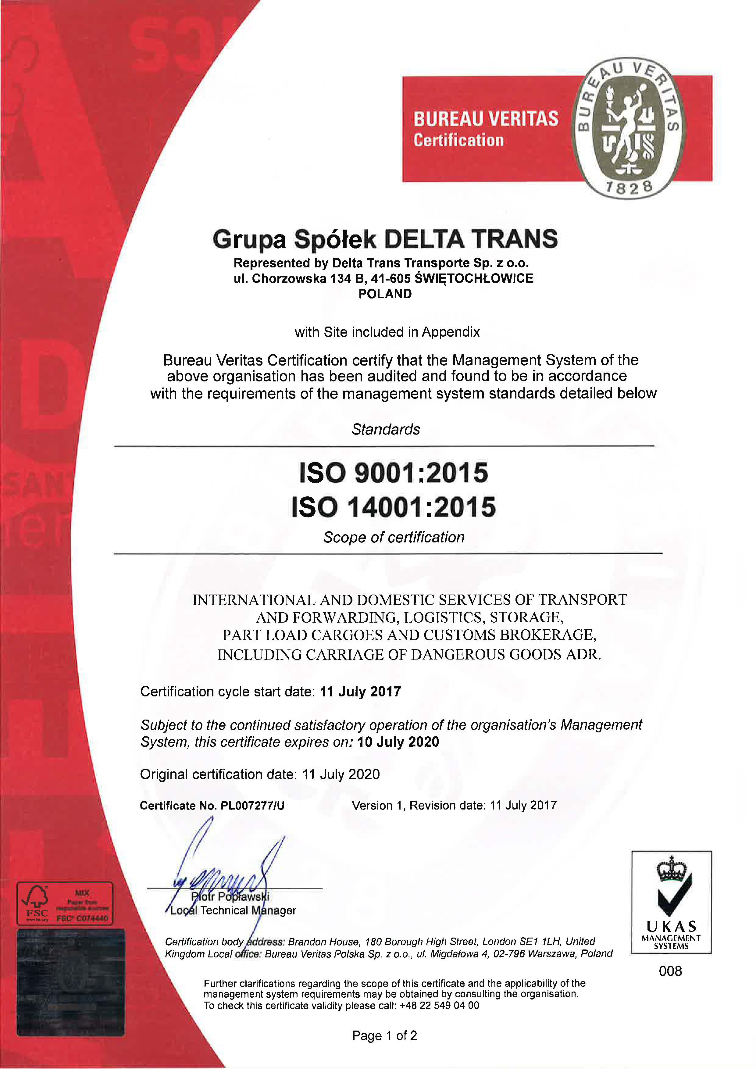 About Us Quality Policy Iso 9001 Iso 14001 Deltatrans